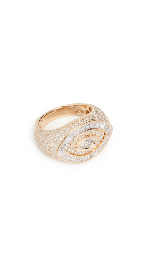Shay 18k Pave Marquise Evil Eye Pinky Ring in gold / yellow