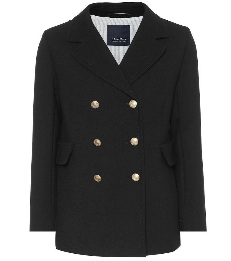 S Max Mara Rana wool-blend crêpe coat in black