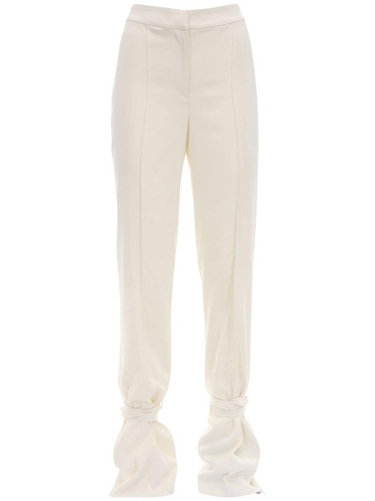 DANIELLE FRANKEL Silk Crepe Pants W/ Slit Ankles in ivory