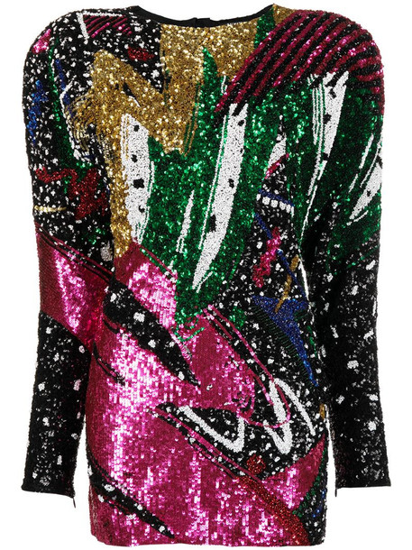 Balmain sequined wide-shoulder dress in pink