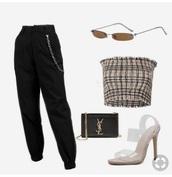 pants,black,chain