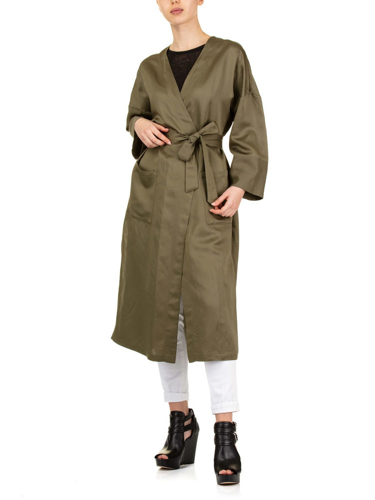 SEMICOUTURE Olive Wrap Coat in green