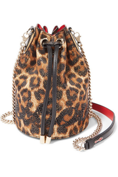 Christian Louboutin - Marie Jane Embellished Leopard-print Lurex And Leather Bucket Bag - Brown