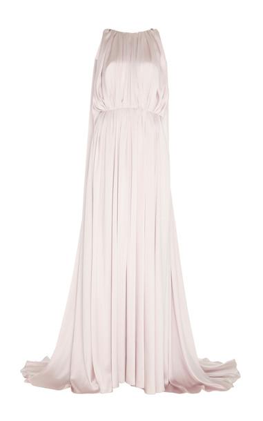 ROKSANDA Aurelie Cape-Detailed Silk Gown Size: 10 in pink