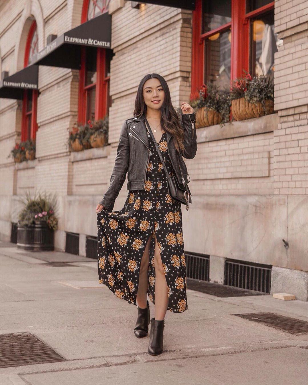 dress floral dress maxi dress black dress slit dress ankle boots black boots black leather jacket black bag