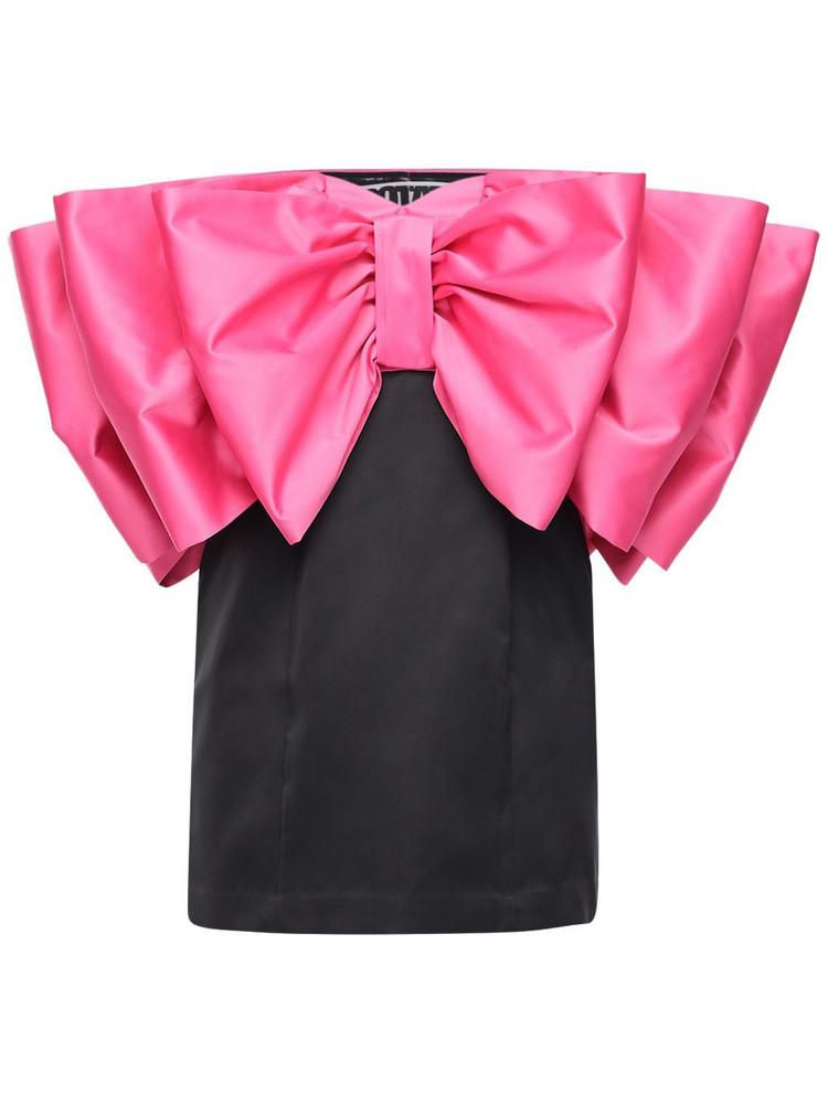 ROTATE Natalie Strapless Mini Dress W/ Bow in black / fuchsia