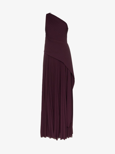Solace London emelyne pleated chiffon gown in purple
