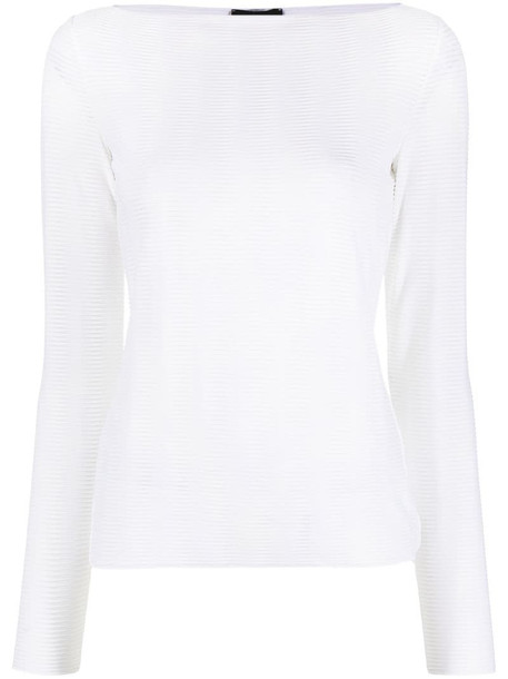 Emporio Armani textured long-sleeve top in white