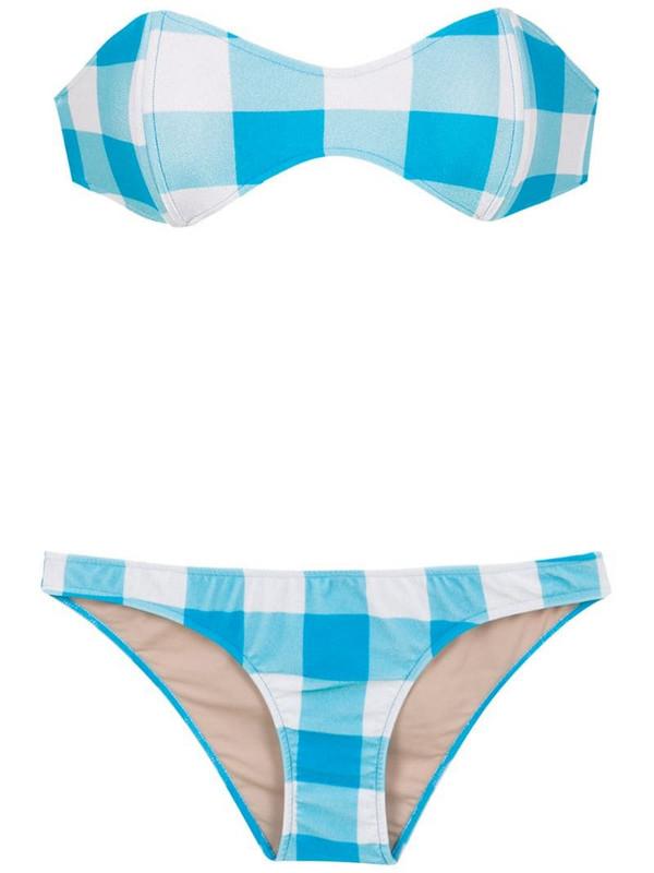 Adriana Degreas checked sleeveless bikini set in blue