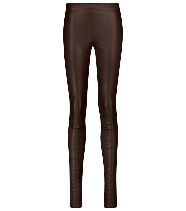 STOULS Carolyn leather leggings in brown