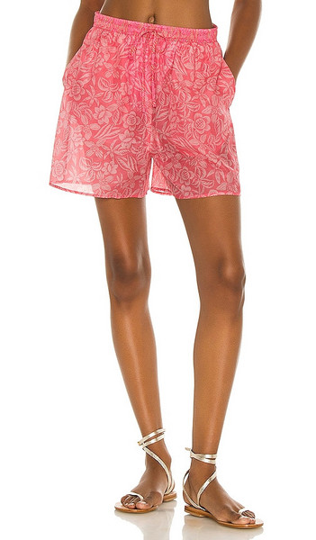 Tell Your Friends Lounge Short in Pink in print