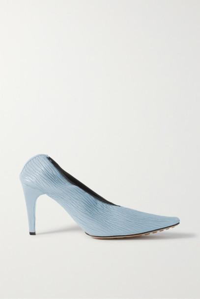 Bottega Veneta - Textured-leather Pumps - Light blue