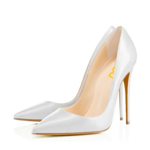 White Office Stiletto Heels Dress Shoes Pointy Toe Commuting Pumps