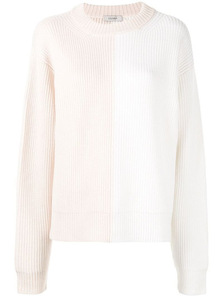 Vaara Eliza colour-block relaxed-fit jumper in white