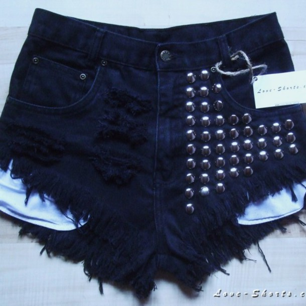 shorts jeans vintage studs summer swag girl ripped jeans levi's high waisted