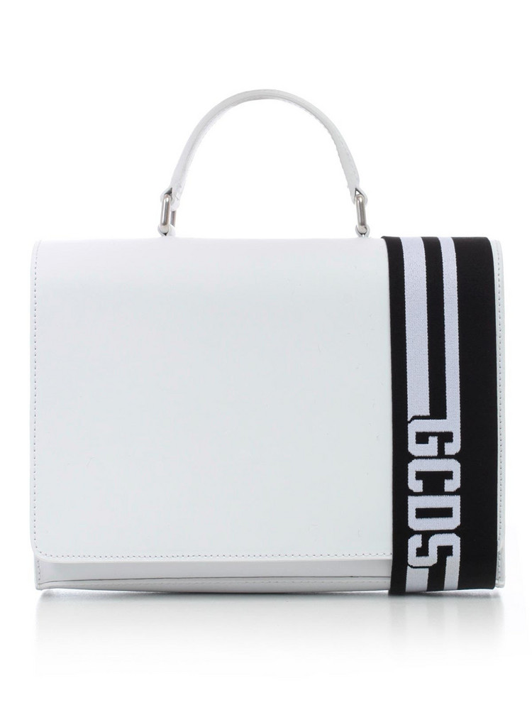 Gcds Logo Stripe Shoulder Bag in white