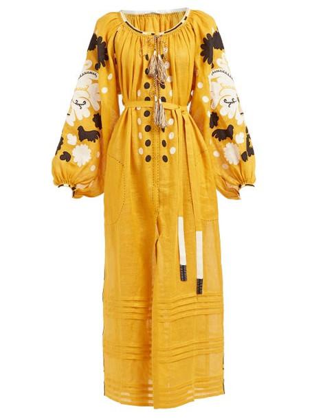 Vita Kin - Maidens In The Meadow Linen Voile Midi Dress - Womens - Yellow Multi