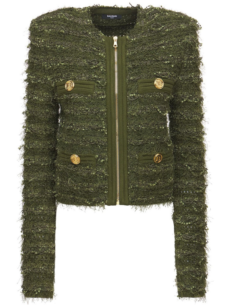 BALMAIN Tweed Collarless Zip Up Jacket in green