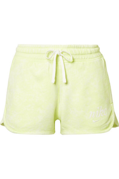 Nike - Tie-dyed French Cotton-terry Shorts - Lime green
