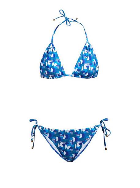 Thorsun - Alex Geometric Print Triangle Bikini - Womens - Blue Multi