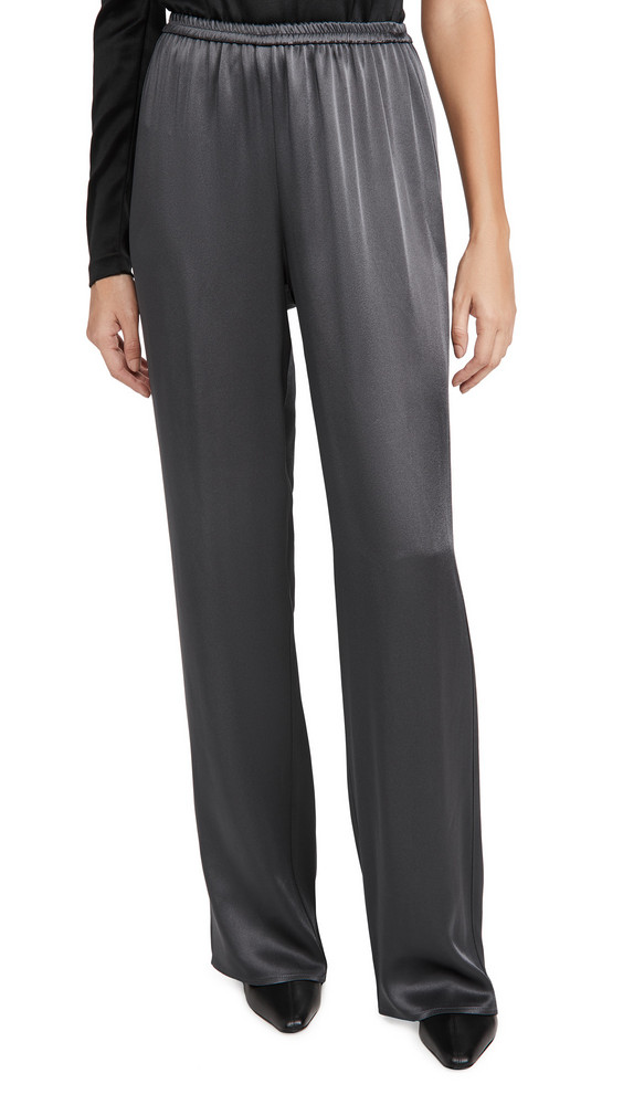 LAPOINTE Doubleface Satin Elastic Wide Leg Pants in charcoal