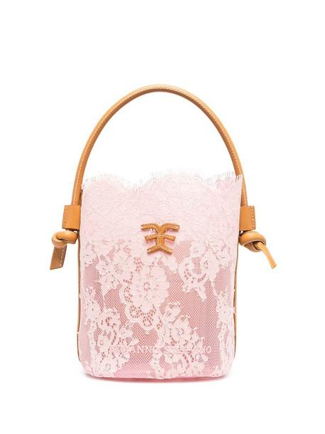 Ermanno Scervino semi-sheer floral lace bucket bag in pink