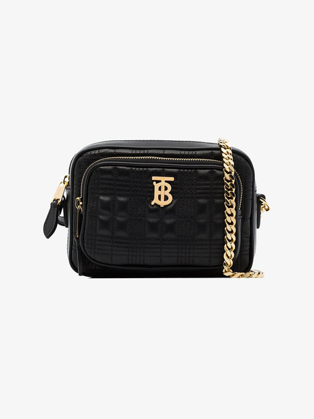 Burberry Small Quilted Check Lambskin Camera Bag in black