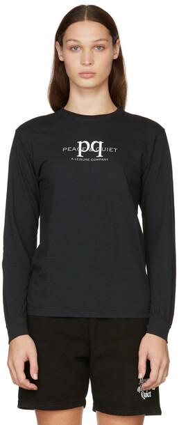 Museum of Peace & Quiet SSENSE Exclusive Black 'Peace & Quiet' Long Sleeve T-Shirt