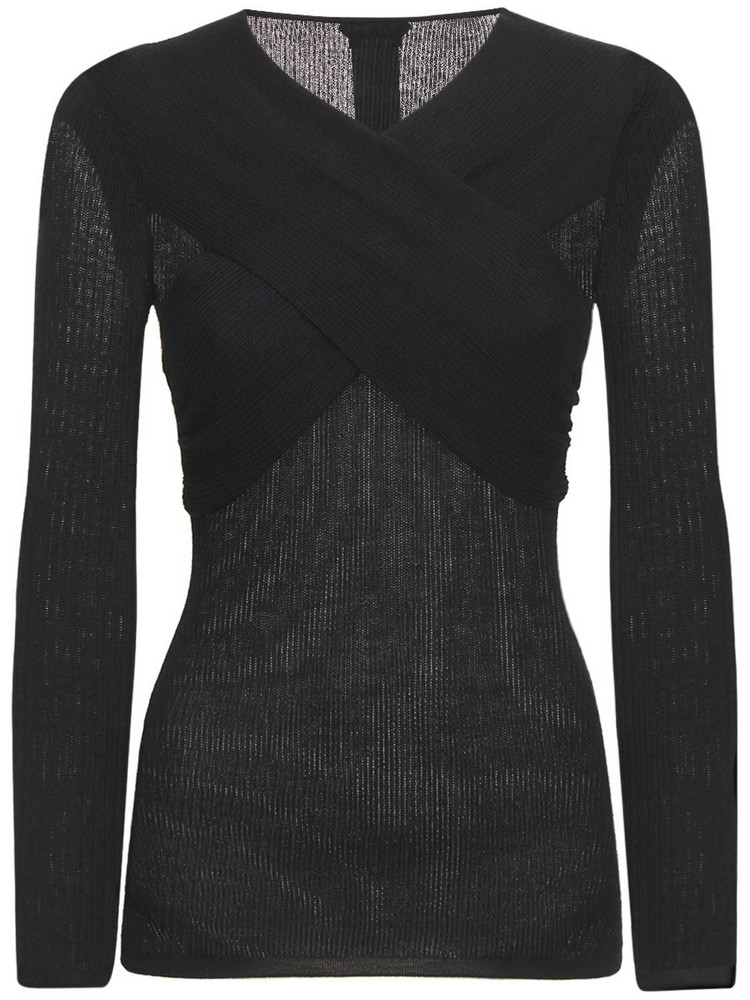 TOM FORD Cashmere & Silk Knit Cross Neck Sweater in black