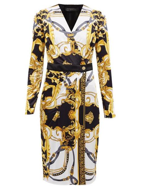 Versace - Baroque-print Jersey Wrap Dress - Womens - White Multi