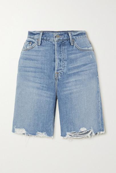 GRLFRND - Marjan Distressed Denim Shorts - Blue