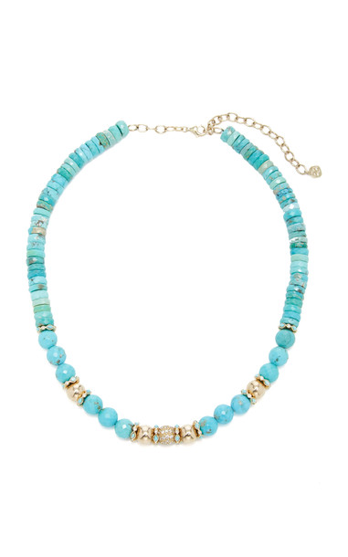 Sydney Evan Turquoise Statement Necklace in blue