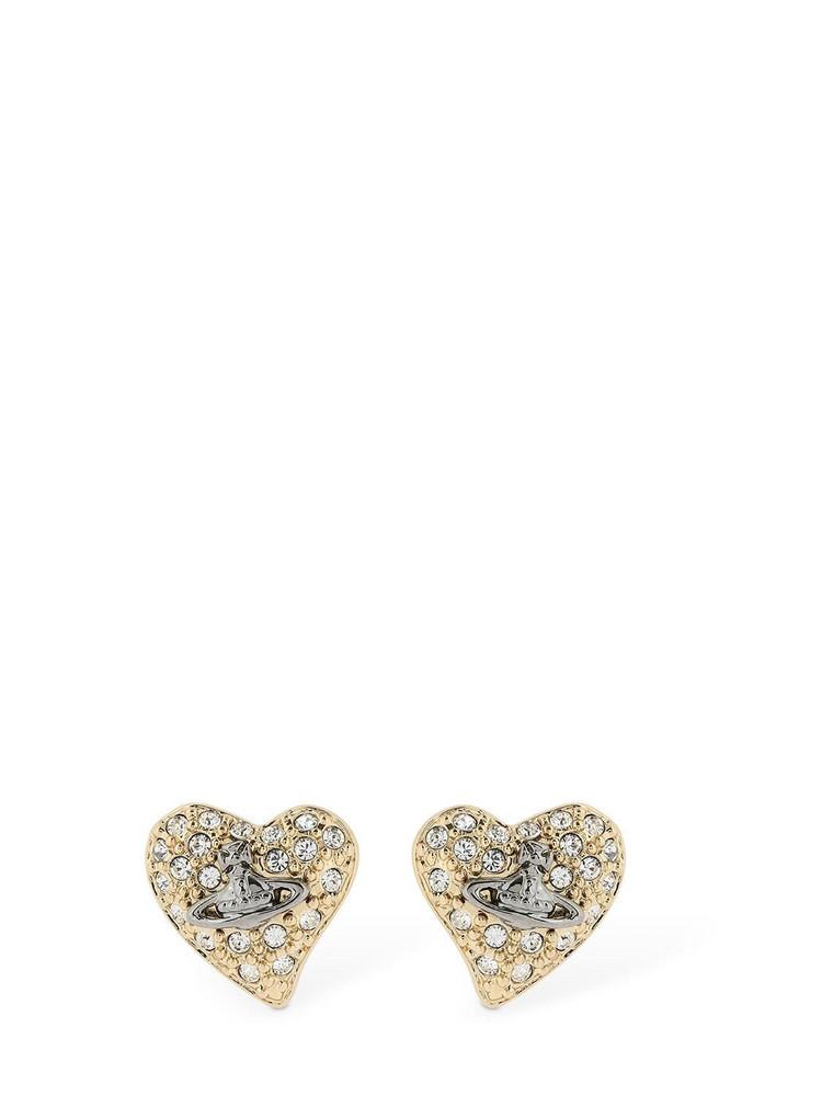 VIVIENNE WESTWOOD Small Logo Diamante Stud Earrings in gold