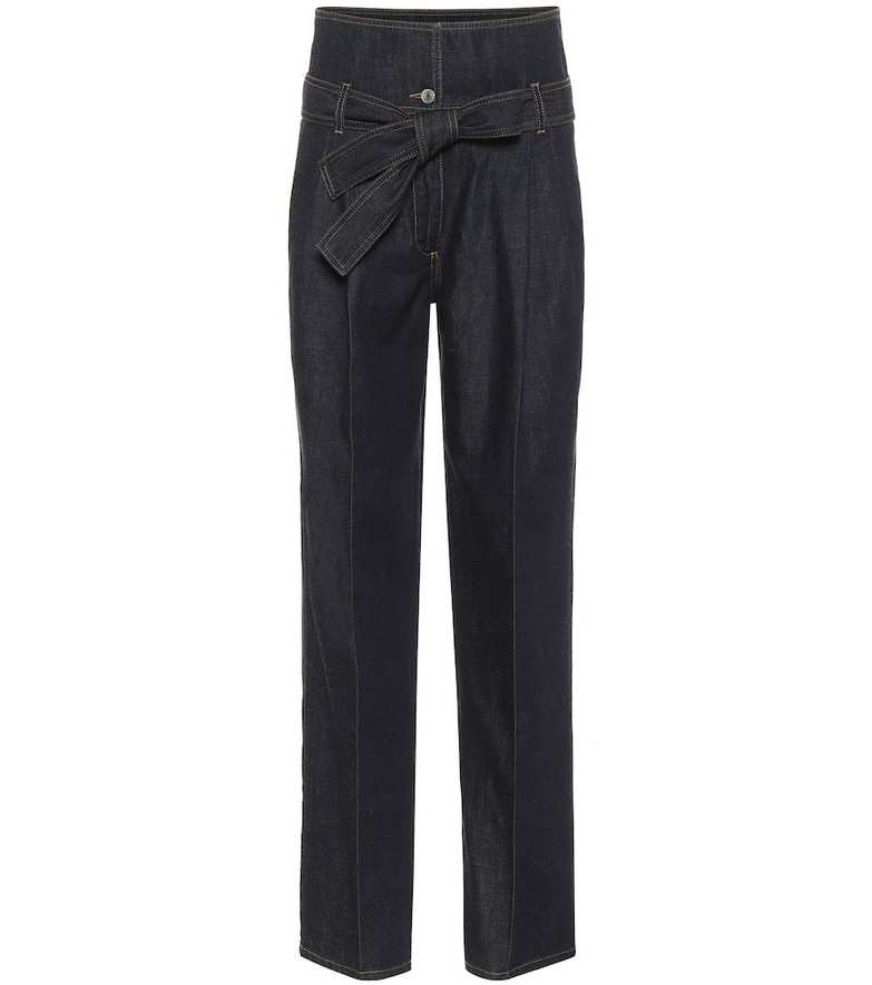 Stella McCartney High-rise straight paperbag jeans in blue