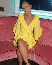 dress,wrap dress,yellow,yellow dress,leigh-anne pinnock,celebrity,instagram