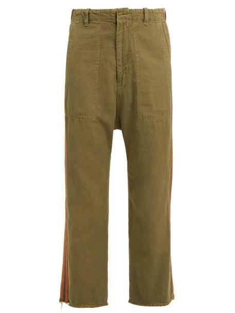 Nili Lotan - Luna Side Stripe Cropped Cotton Blend Trousers - Womens - Khaki
