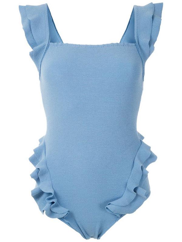 Clube Bossa Barbette ruffle swimsuit in blue