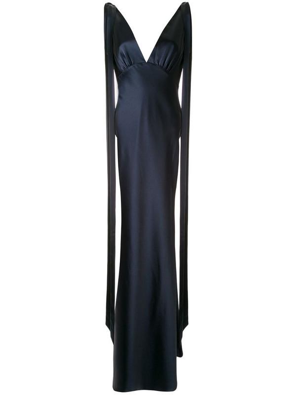 Rachel Gilbert Jule V-neck gown in blue