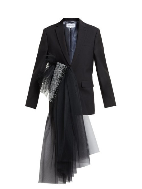 Germanier - Crystal Embellished Tulle Draped Blazer - Womens - Black