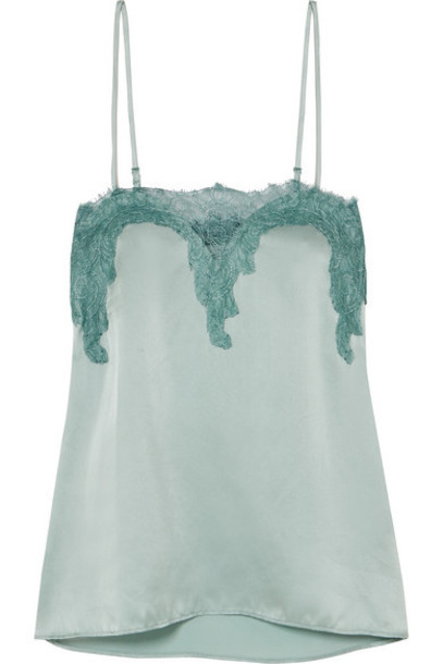 Cami NYC - The Sweetheart Lace-trimmed Silk-charmeuse Camisole - Mint