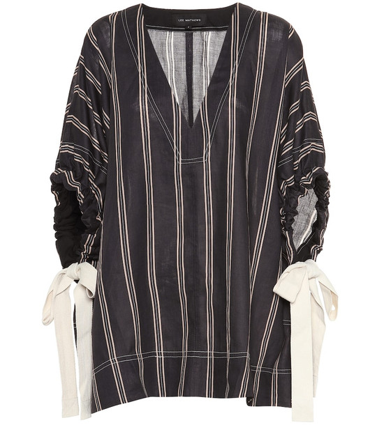 Lee Mathews Granada striped ramie blouse in black