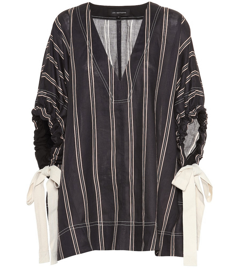 Lee Mathews Granada striped ramie blouse in black