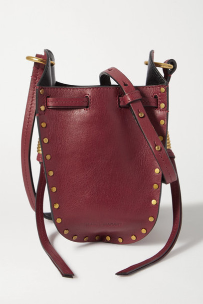 Isabel Marant - Radji Studded Leather Bucket Bag - Red