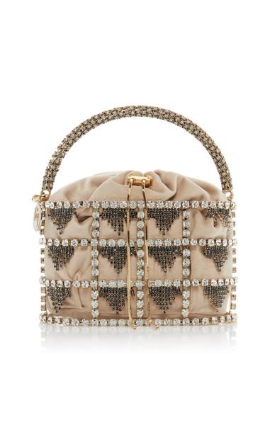 Rosantica Minerva Crystal-Embellished Bucket Bag in neutral