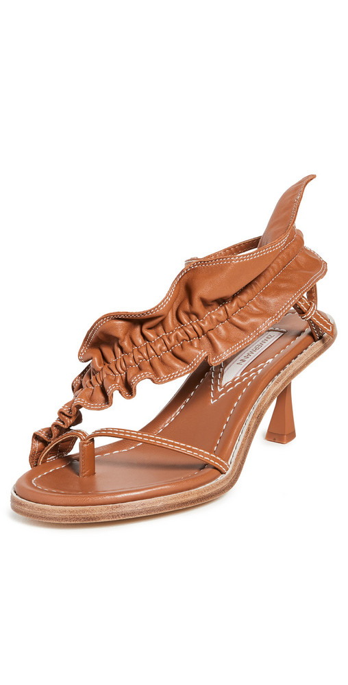 Zimmermann Skinny Strap Ruffle Heel Sandals in tan
