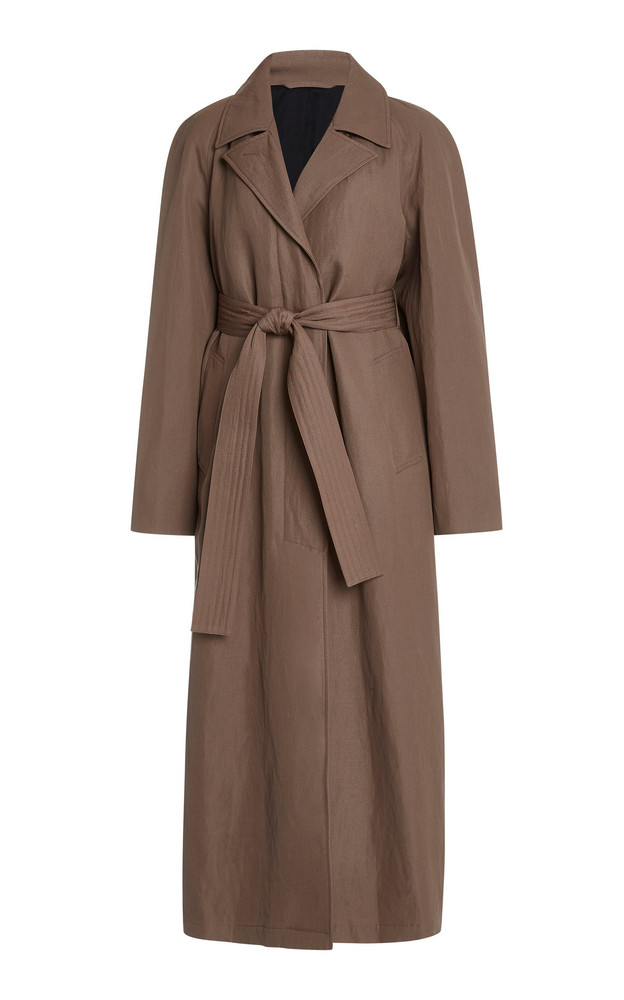 Lemaire Straight Wool-Linen Coat in brown