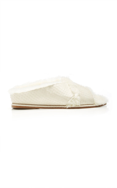 Gabriela Hearst Ellington Fur Flat Mules in white