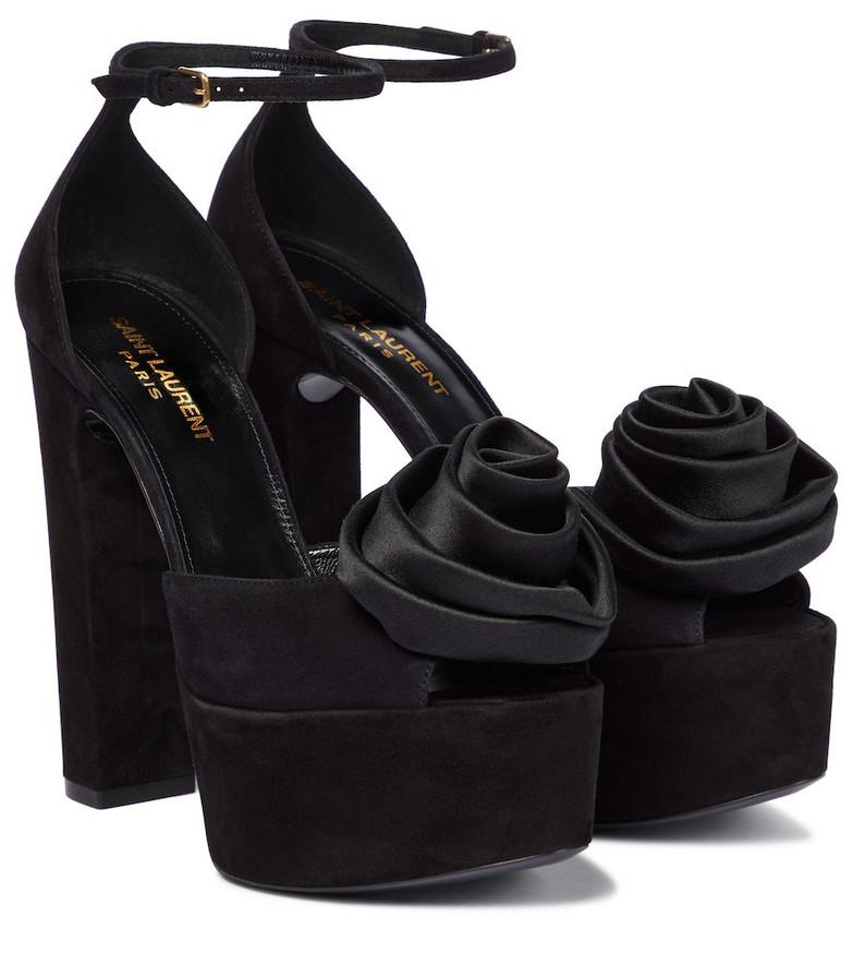 Saint Laurent Jodie suede platform sandals in black