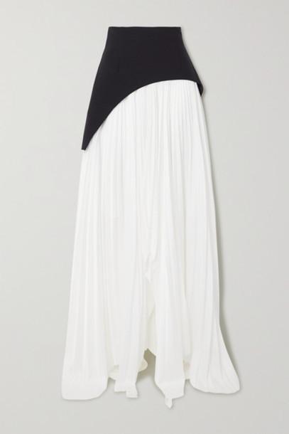 Solace London - Leila Asymmetric Paneled Crepe And Pleated Crepe De Chine Maxi Skirt - White