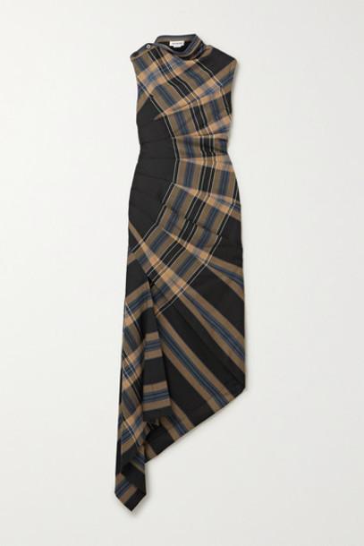 Monse - Asymmetric Ruched Checked Stretch-twill Maxi Dress - Black